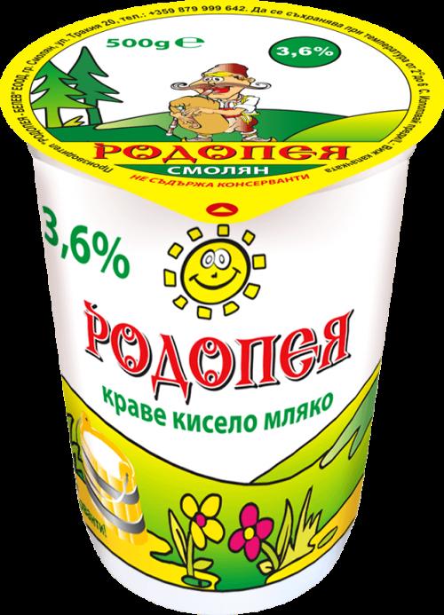 Краве кисело мляко Родопея 3,6 0,500гр.