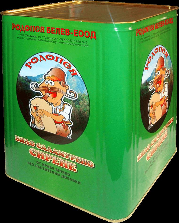 Бяло саламурено сирене Родопея - тенекия